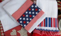 Patriotic dish towel, 4th of July, red white blue, decorative kitchen towel on Etsy, $6.50