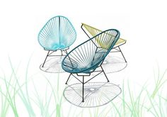 the Acapulco chair is a design classic 50's  PVC multicolor outdoor, with steel frame, the editing effect Danish Design OK . From 399 €