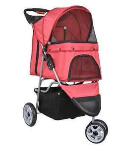 Pet Stroller Dog Cat Vivo, 3-wheels for jogging cup holders padded bottom basket
