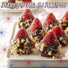 Happy 4th of July everyone!! #fourthofjuly #chocolate #strawberry #nuts #dessert…