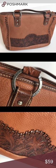Trinity Ranch Brown Embossed Leather Western Purse Trinity Ranch Brown Embossed Leather Western Cowgirl Purse Handbag 14 inches long, 15 inches tall, 5 inches wide and strap drop is 11 inches trinity ranch Bags Shoulder Bags
