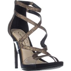Jessica Simpson Roelyn Heeled Strappy Sandals, Black/Gold Multi    #jessicasimpson #heels #sandals #strappy #anklestrap #shoes #fashion #retail #shopping #style #trend #love #womensfashion
