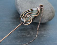 Shawl pin scarf pin sweater pin antique copper by Keepandcherish