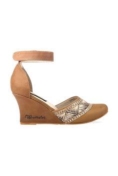 Wearmates Lines & Cross Design on Tan #Wedges #Shoes! #footwear #shoeporn #love #sandal #heels #feminine #designer #boutique #durable #onlineshopping #VioletStreet #cod
