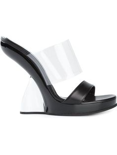 ALEXANDER MCQUEEN sculpted wedge mules £895.00
