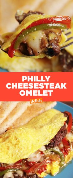This Philly Cheesesteak Omelet is THE breakfast of champions. Get the recipe from Delish.com.