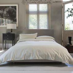 Carla Plain Natural Buttoned 100% Cotton Duvet Cover and Pillowcase Set