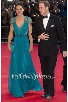 Kate Middleton Cap Sleeves Long Evening Dress London Olympic gala