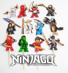 12 Ninjago Toppers Birthday Party Cupcake Cake by KidsLoveEm