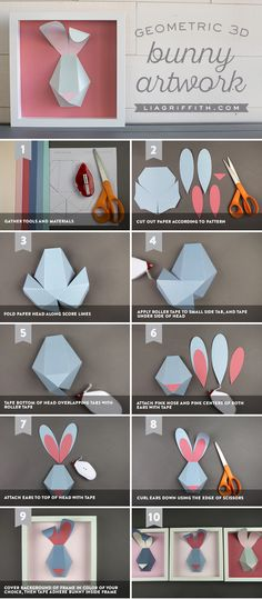 We absolutely adore these modern bunnies! Their geometric shape is cute, sleek, and a great way to incorporate bunny artwork for Easter. Paper Flower Backdrop, Paper Flowers, Paper Bunny, Rabbit Crafts, Diy Wedding Bouquet, Shape Crafts, 3d Paper, Flower Tutorial, Art Plastique