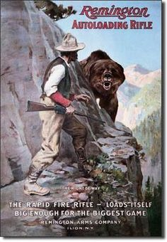 Remington Right of Way Rapid Fire Rifle Bear Mountain Hunting Tin Metal Sign