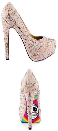 Multi Color Dotted High Heels For Ladies