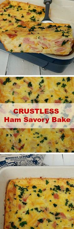 Crustless Ham Savory Bake INGREDIENTS: 1 1/2 cups Flour 1/2 TB Mustard Powder 1/2 t Salt 4 TB Butter, softened 3 cups Milk 3 Extra-Large Eggs 1 Small Onion, chopped finely 1 1/2 cups Cheddar Cheese, grated 300g Cooked Ham, sliced or diced (10 oz) Handful finely chopped Fresh Parsley DIRECTIONS: