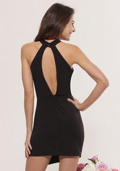 Cutout Back Halter Dress | Lookbook Store