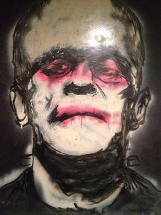 Frankenstein painting ORIGINAL spray paint/tattoo ink