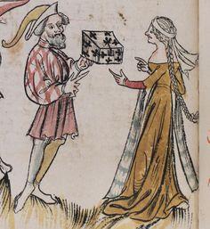 14th century headdress / veil ( manuscript : Basel, Universitätsbibliothek, A II 1, f. 117v, 1396, Germany )