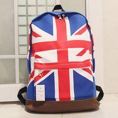 2012 Korean new British flag fashion canvas shoulder bag backpack schoolbag England men and women use