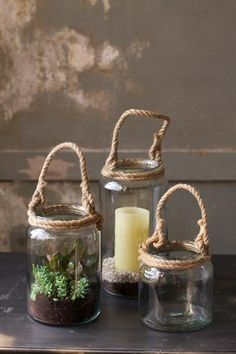 glass candle holders with rope handles