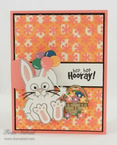 Fran Sabad created this cute birthday card! Fran created her background with Karen Burniston's Flowers Stage it stencil on top of some patterned paper. Fran also used Karen's Lucky the Rabbit, Props 7, and Lucky's Birthday Clear Stamps. Find all the products here: https://www.elizabethcraftdesigns.com/