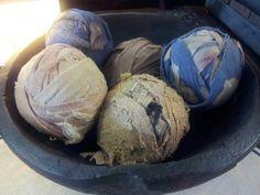 Old quilt rag balls
