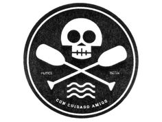 A simple circular logo. Would obviously swap the icons used for, you know, less doom and gloom stuff. Like a salmon where the skull is and then maybe fishing lines with hooks where the oars are?