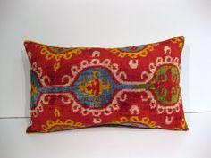 Lumbar Colorful Silk Pillow  25-15 63-38 cm  by HandcraftMade