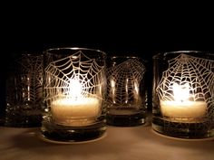 Webs 4 Glass Votive Candle Holders Halloween by daydreemdesigns