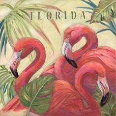 Flamlngo painting by Myra Roberts.  Florida