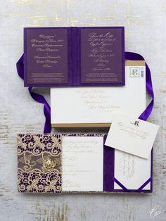 Purple & Gold Ceci Weddings Invitations