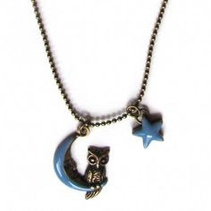 Moon, Star and Owl Charm Necklace
