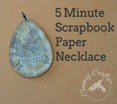 5 Minute Scrapbook Paper Necklace via Clumsy Crafter Simple and Easy Necklace Pendant Paper Earrings, Paper Jewelry, Paper Beads, Jewelry Crafts, Handmade Jewelry, Jewelry Ideas, Cement Jewelry, Handmade Beads, Make Your Own Jewelry
