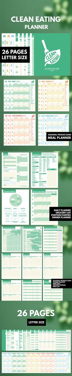 Clean Eating Planner ▹ for Clean Eating lifestyle people & Who want to lose weight with Healthy plan Printable PDF  This is COMPLETE planner for helping you reaching the Goal on Clean Eating Plan. It contain everything you need while being CLEAN EATER such as Season Produce Guide Weekly Meal planner, Clean Eating Grocery List, Portion Control for Clean Eating, Menu Idea Sheets, and etc.