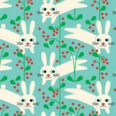 Bunny print in aqua with red berries