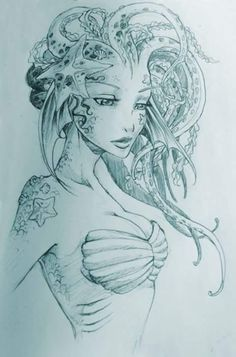Mermaid Tattoo Sketches: 21 thousand images found … - Drawing Ideas Inspiration Art, Art Inspo, Fantasy Kunst, Fantasy Art, Fantasy Drawings, Mermaid Drawings, Mermaid Sketch, Mermaid Artwork, Drawings Of Mermaids