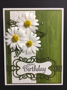 I have been playing with the new Daisy Punch from Stampin Up. Cool Cards, Diy Cards, Watercolor Card, Stamping Up Cards, Rubber Stamping, Die Cut Cards, Flower Cards, Flower Birthday Cards, Homemade Cards