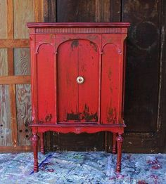 MMSMP Tricycle Red is my favorite milk paint color. I painted a vintage radio cabinet two years ago and it is still my favorite painted furniture piece. Knob from Hobby Lobby Paint Furniture, Furniture Projects, Furniture Makeover, Cool Furniture, Diy Projects, Furniture Market, Furniture Removal, Urban Furniture, Furniture Design