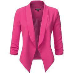 JJ Perfection Women's Texture Woven Thin Ruched Sleeve Open-Front... (275 ARS) ❤ liked on Polyvore featuring outerwear, jackets, blazers, blazer jacket, textured jacket, textured blazer, pink blazer and pink jacket