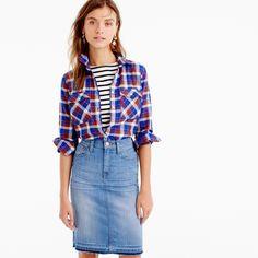 "Our boyfriend shirt features a more relaxed fit than our boy shirt. We crafted this one in a cerulean plaid we love, plus a supersoft, lightweight flannel that's extra comfortable. <ul><li>Body length: 27 1/2"".</li><li>Cotton.</li><li>Long roll-up sleeves.</li><li>Functional buttons at cuffs.</li><li>Button placket.</li><li>Patch pockets with button closure.</li><li>Machine wash.</li><li>Import.</li></ul>"
