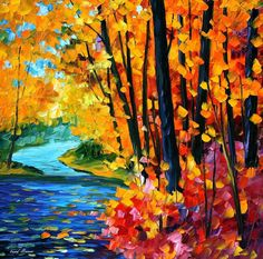 OIL ON CANVAS PAINTING DIRECTLY FROM FAMOUS ARTIST LEONID AFREMOV  Title: Sounds Of The Fall Size: Variable Condition: Excellent Brand new Gallery Estimated Value: $ 4,500 Type: Original Recreation Oil Painting on Canvas by Palette Knife  This is a recreation of a piece which was already sold.  Its not an identical copy, its a recreation of an old subject. This recreation will have texture unique just to this painting, a fingerprint that can never be repeated. My recreation will look similar…