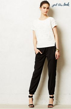 dressy/boxy top + dressy joggers + strappy or pointed-toe heels