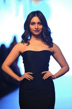 Indian Bollywood actress Tamanna Bhatia poses for a photograph during Lakmé Fashion Week Summer Resort 2017 in Mumbai on late Februsry 1 2017 / AFP /...
