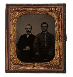 Sixth Plate Tintype of John M. Bass of the 3rd Tennessee (Clack's) Infantry, Company K with Friend.  Bass was captured at Fort Donelson on February 16, 1862 and died at Camp Douglas Military Prison on March 12, 1862.  He was the son of Tennessee Militia General Stephen Hicks Bass.