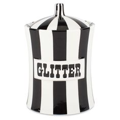 """jonathan adler glitter canister, 6""""h x 4""""w, 17oz capacity, $68 on sale (reg $88)"""