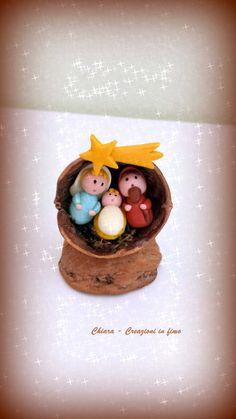 Idea regalo Natale Presepe in fimo nella noce, by Chiara - Creazioni in fimo, 8,00 € su misshobby.com