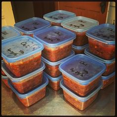 Twenty-three meals for two ready to hit the freezer. #cookday #chili #vegan #food