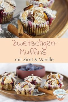 Zwetschgen-Muffins mit Zimt & Vanille Plum muffins with cinnamon and vanilla – Related posts: This easy Cinnamon Butter recipe goes on EVERYTHING! Buns, muffins, banana bread… Apple Pie Cupcakes With Vanilla Cinnamon Frosting Donut Recipes, Muffin Recipes, Cake Recipes, Biscuit Oreo, Prune, Chocolate Donuts, Baked Donuts, Le Diner, Food Cakes