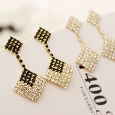 [$23.00] Square Full Diamond Tassel Claw Chain Earrings Stud - Free Shipping