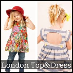 *PDF Sewing Pattern* The London Dress and Top is a darling wrap dress with button back and circle back cutout. It has a full gathered skirt and 3 l...