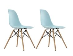 Dorel Home Furnishings Blue Mid Century Modern Molded Chair with Wood Leg, Set of 2