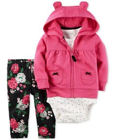 Carter's mixes sweet prints to lovely results with this darling three-piece set of a zip-up hoodie, bodysuit and leggings. | Polyester | Machine washable | Imported | Hoodie: animal ear details at hoo
